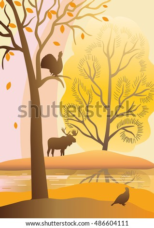 Autumn landscape with trees, river, birds, elk. Capercaillie sitting on a tree.