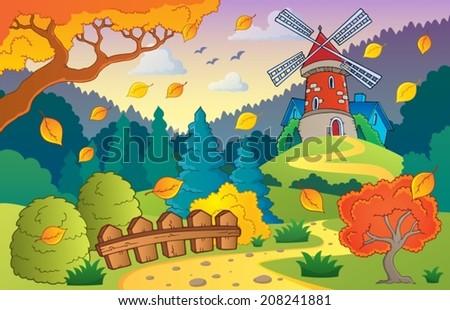 Autumn landscape with windmill 1 - eps10 vector illustration. - stock vector