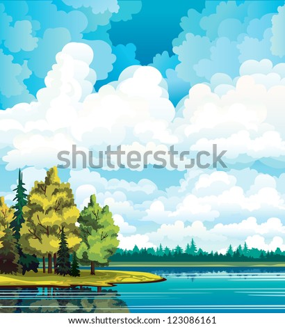 Autumn landscape with yellow and green trees near the lake and group of white cumulus clouds on a blue sky - stock vector