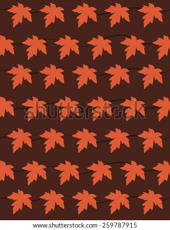 Autumn leaf pattern over red color background - stock vector