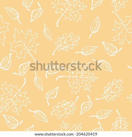Autumn leaf seamless pattern, yellow color. Vector illustration, EPS 10. - stock vector