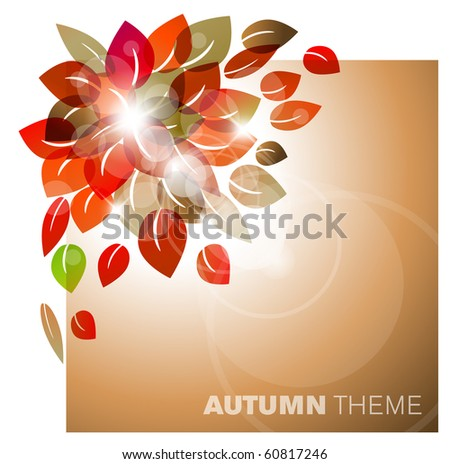 Autumn leafs abstract background with place for your text - stock vector