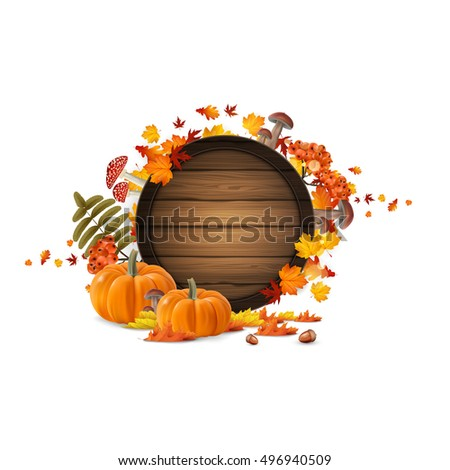 Autumn leaves and pumpkins composition. Design of autumn season. Autumn welcome background with beautiful autumn lettering on wooden barrel.