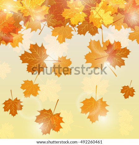 Autumn leaves background with glowing lights. Vector illustration