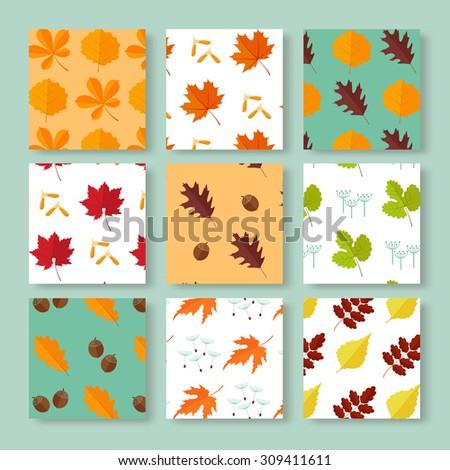 Autumn leaves backgrounds set . EPS 10 vector illustration - stock vector