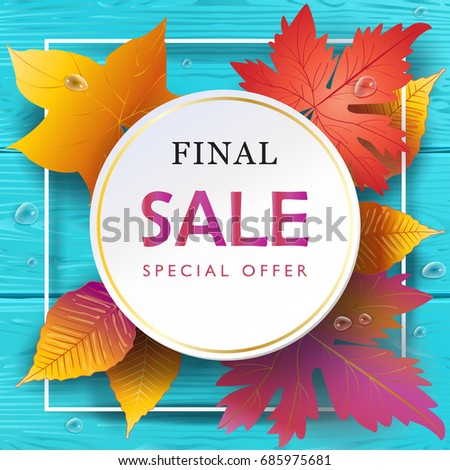 Autumn Leaves Frame Sale Thanksgiving Vector Stock Vector (2018 ...