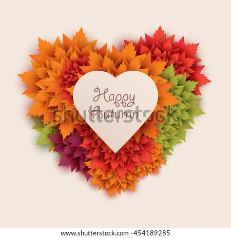 autumn leaves heart shaped - vector background - stock vector