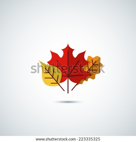 autumn leaves icon background - stock vector