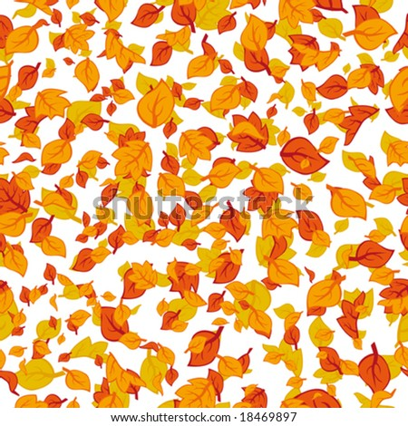 Autumn leaves orange falling down - stock vector