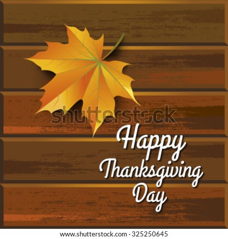 Autumn leaves over wooden background, Thanksgiving - stock vector