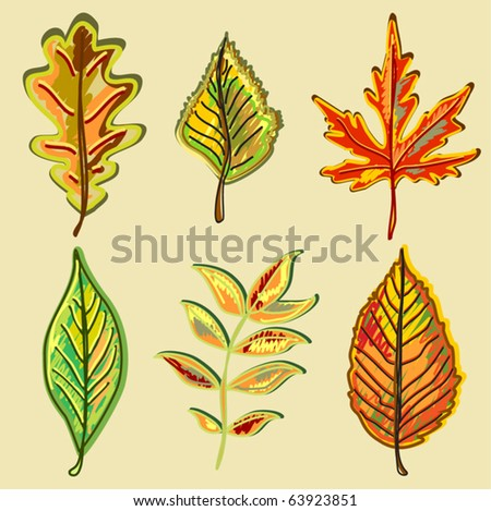 Autumn leaves (primitively drawn) - stock vector