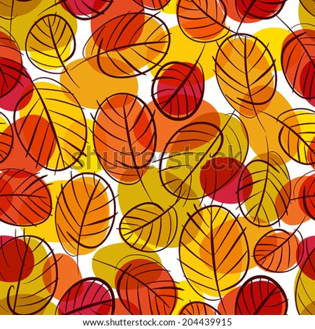 Autumn leaves seamless background, floral vector seamless pattern, hand drawn. - stock vector