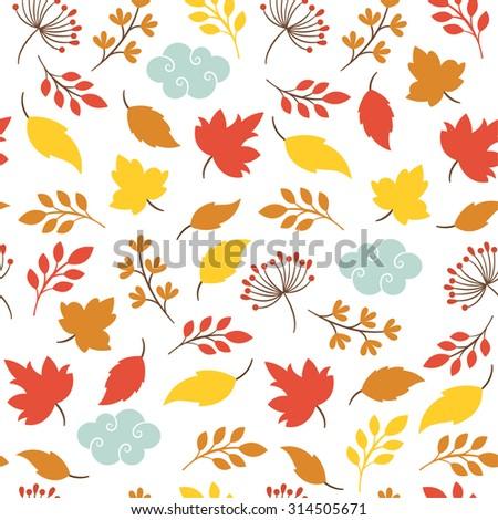 autumn leaves , seamless pattern - stock vector