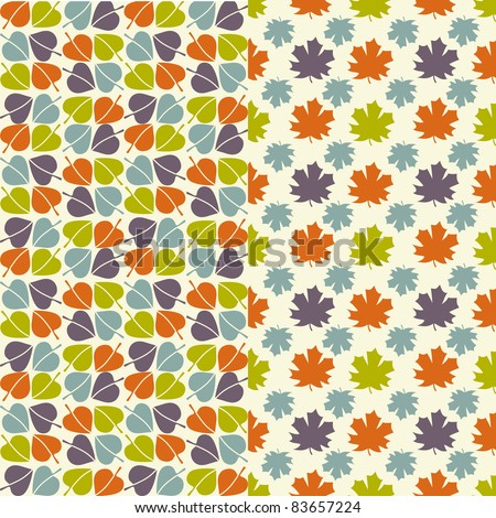 Autumn leaves - seamless pattern wallpaper - stock vector