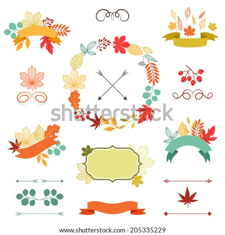 Autumn leaves set of wreath, ribbons and labels. - stock vector