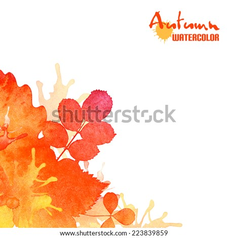 Autumn leaves, vector watercolor foliage background - stock vector