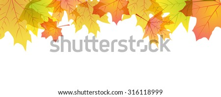 Autumn maple leaves frame with place for text - stock vector