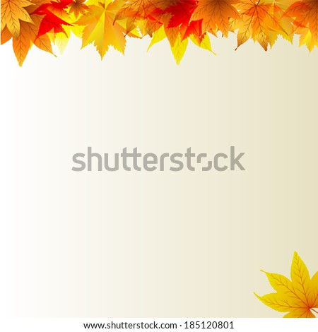 Autumn maples falling leaves background - stock vector