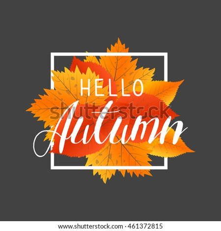 Autumn new season hello. Lettering with hand drawn letters. Label and banner template with yellow red leaves.