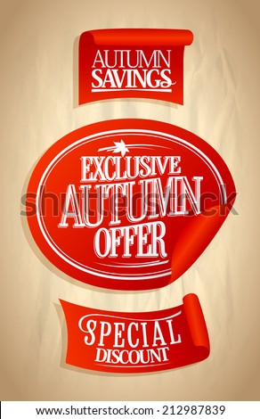 Autumn offer, sale stickers set on a paper. Eps10 - stock vector