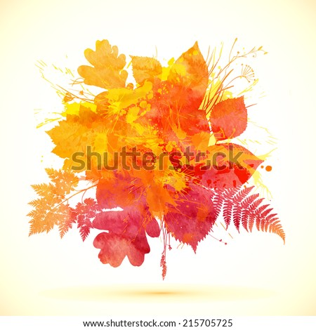 Autumn orange watercolor painted vector foliage banner - stock vector