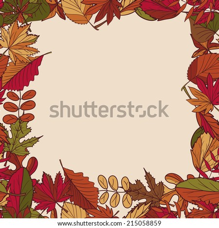 Autumn pattern. Pattern of autumn leaves. Red, yellow and green leaves of forest trees.  Seamless frame. Use as a background of the web page. Arrange on top of the text. Use as a greeting card. - stock vector
