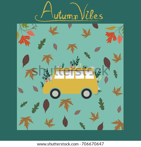 autumn pattern poster template colorful fall stock vector 706670647