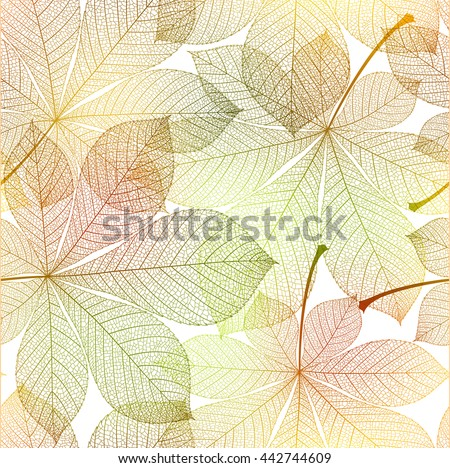 Autumn pattern seamless, leaves of chestnut background. Colorful realistic vector illustration.