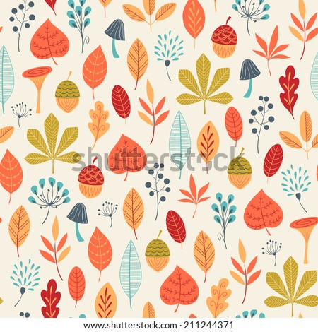 Autumn pattern with leaves, berries and mushrooms. - stock vector