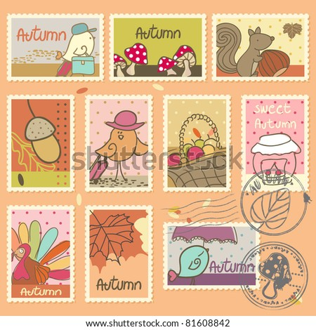 autumn postage stamps - stock vector