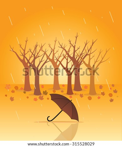 Autumn rain, vector illustration