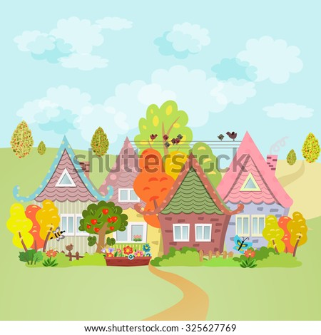 Autumn rural landscape - stock vector