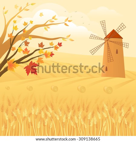 Autumn rural landscape with golden wheat fields and windmill - stock vector