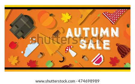 Autumn sale banner. Vector illustration.