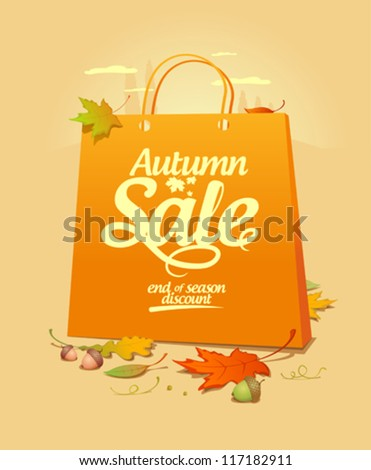 Autumn sale design template with shopping bag. - stock vector