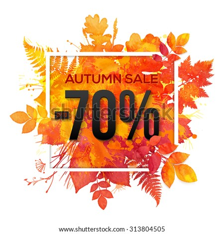 Autumn sale -70% discount vector banner with orange foliage in watercolor style - stock vector