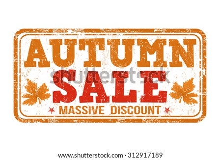 Autumn sale grunge rubber stamp on white background, vector illustration