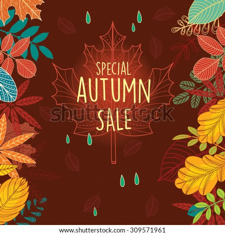 Autumn sale poster with leaves - stock vector