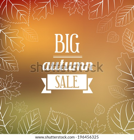 Autumn sales poster in retro style - stock vector