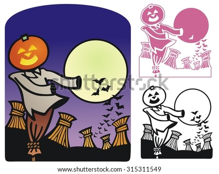 Autumn Scene For Halloween - stock vector