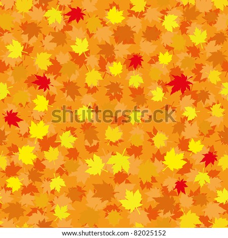 Autumn seamless background with maple leaves, vector illustration - stock vector