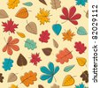 Autumn seamless pattern with colorful leafs - stock vector