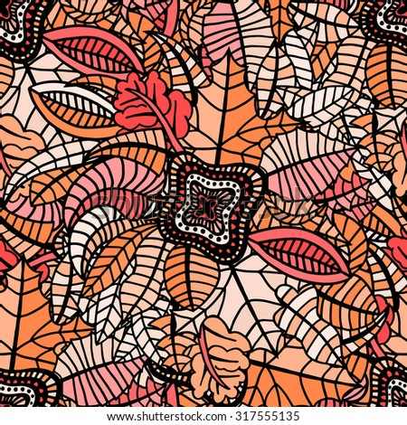 Autumn seamless pattern with colorful leafs. Vector illustration