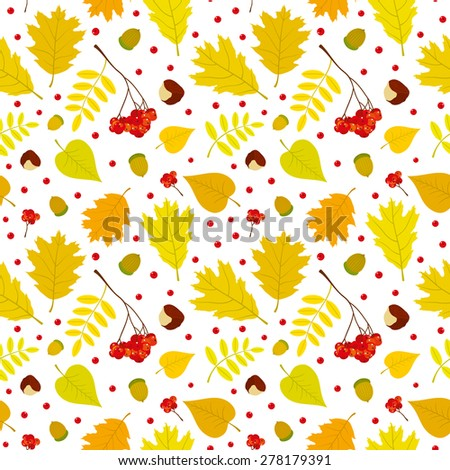 Autumn seamless pattern with rowan berries, leaves, acorn, chestnut. Vector set. White background. - stock vector