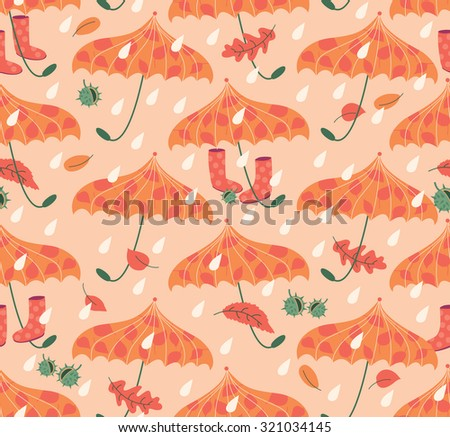 Autumn Seamless Pattern With Umbrellas And Gum Boots - stock vector