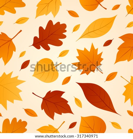 Autumn seamless patterns. Fall leaves. Vector illustration. - stock vector