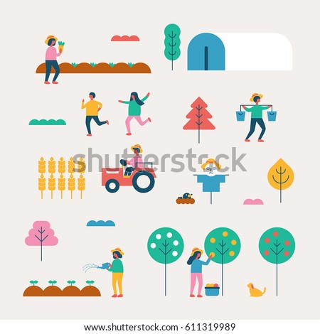 autumn season background people character vector illustration flat design
