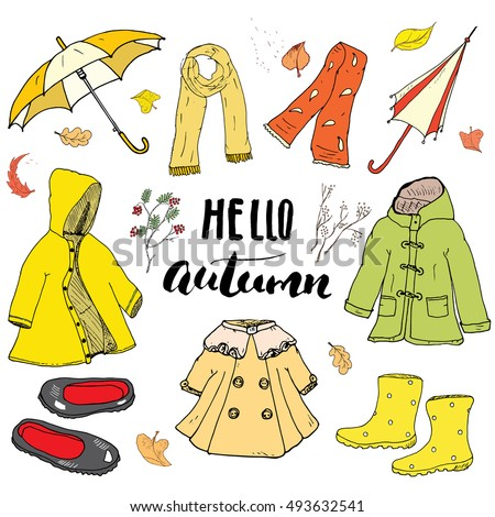 spring clothes umbrella boots raincoat stock vector