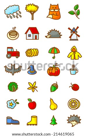 Autumn season icons set