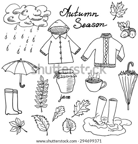 Rainy Nature Drawing Autumn Season Set Doodles
